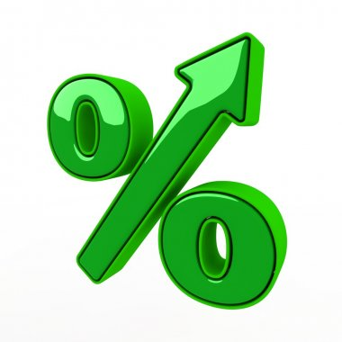 Green sign of percent