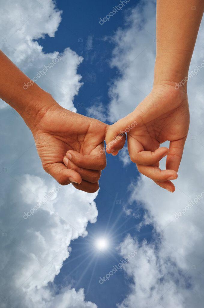 Lover hands together