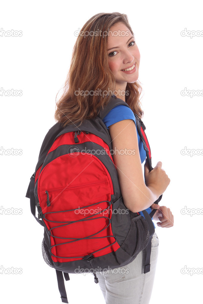 Pretty young teenager school girl with big smile