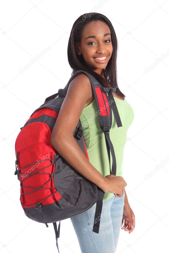 African American teenage school girl with rucksack