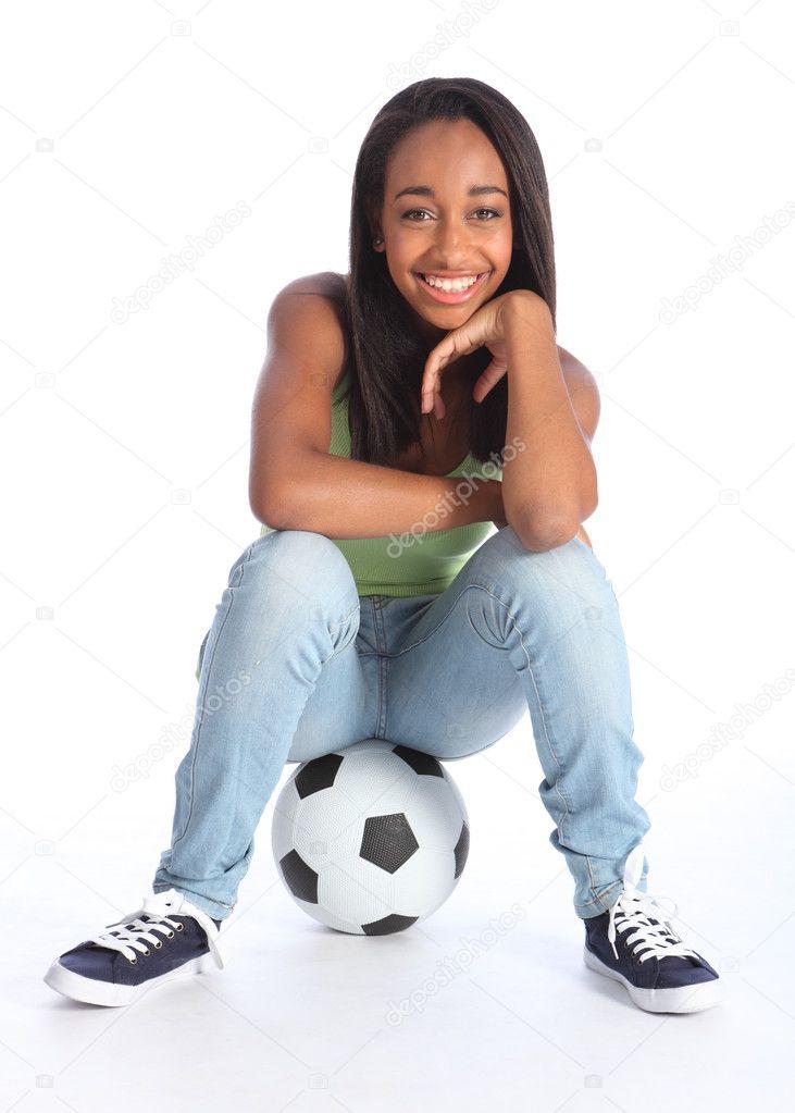 Beautiful Black Soccer Player Girl Sitting On Ball  Stock Photo  Darrinahenry -5586