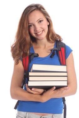 Beautiful high school teenage girl in education