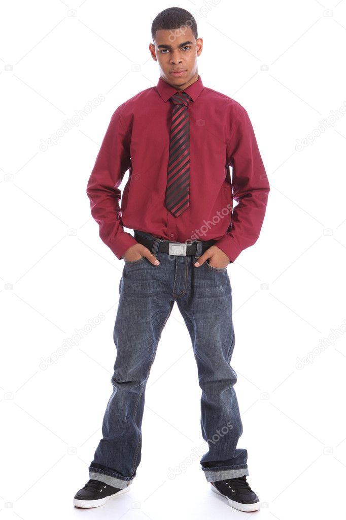 jeans mit hemd und krawatte