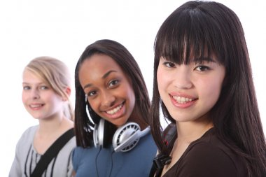 Japanese teenage student girl with school friends