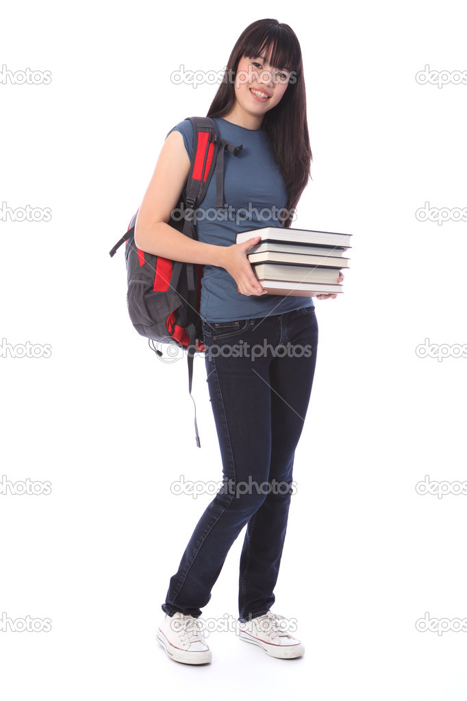 Asian teenager student girl with education books