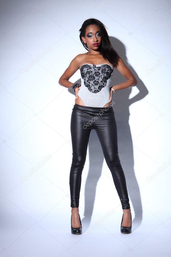 African american fashion model in black leggings — Stock ...