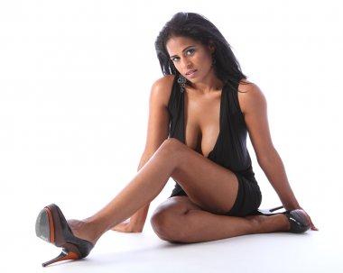 Beautiful mixed race woman big boobs black dress