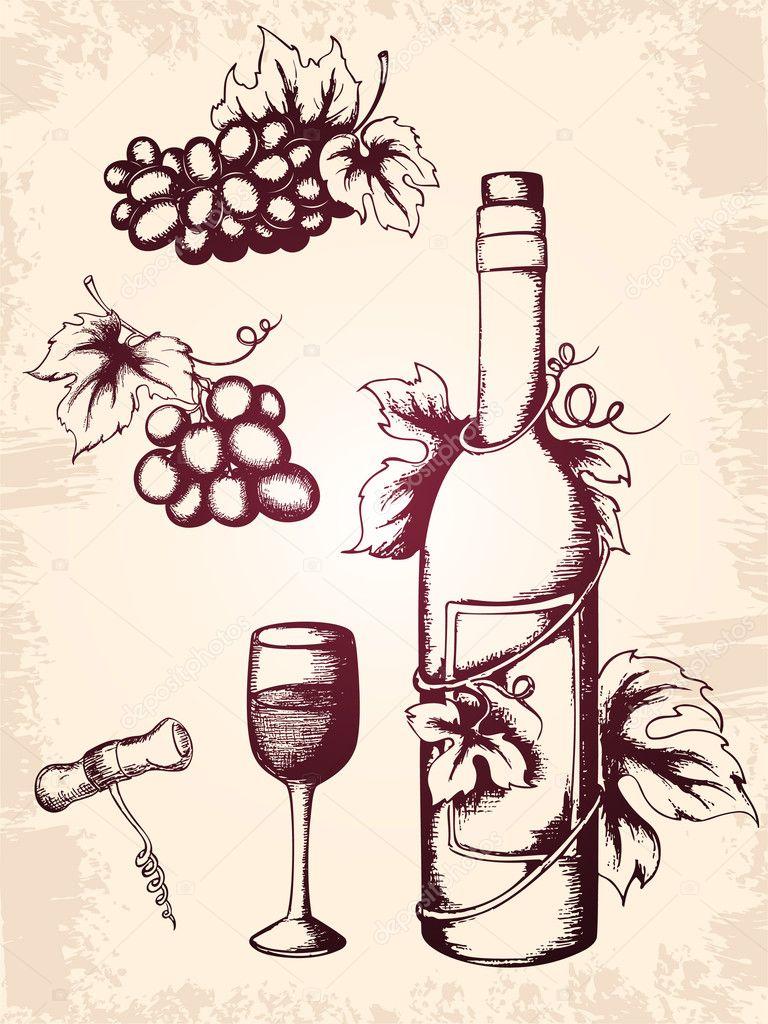 распространили бутылка вина картинка для скетчбука вариант предполагает