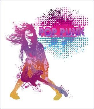 Girl playing guitar pop punk