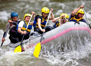 Group of whitewater rafting
