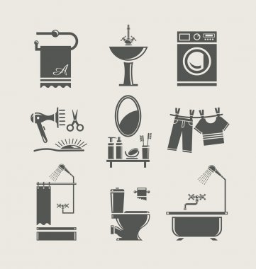 Bathroom equipment set icon