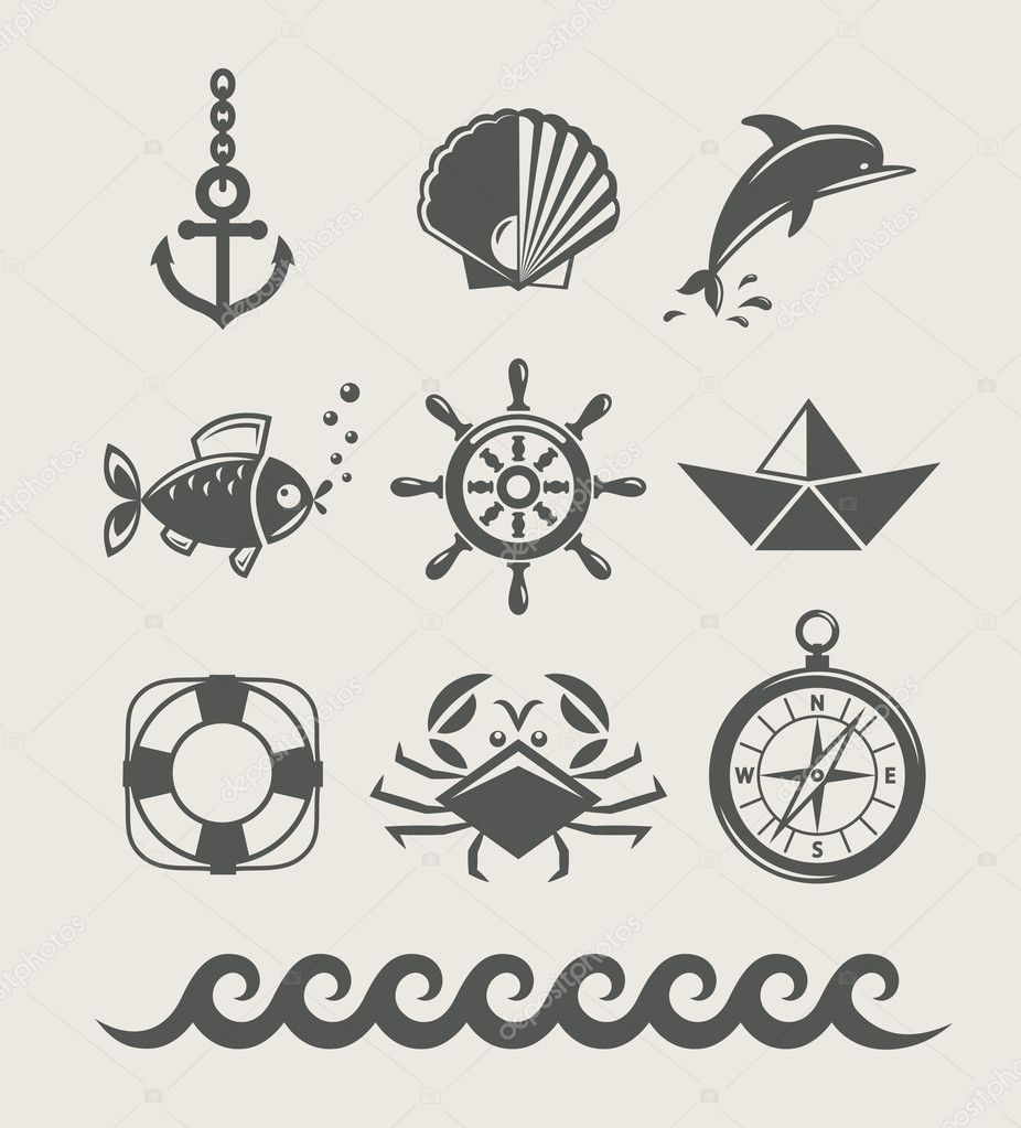Sea and marine symbol set of icon