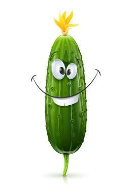 Smiling green cucumber