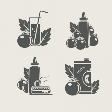 Tomato products set icons