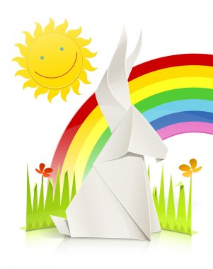 Nature scene with rabbit made of paper