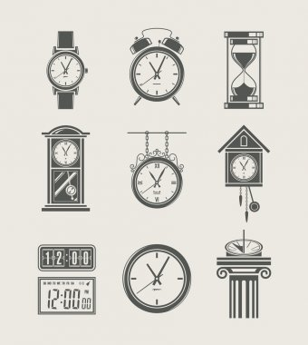 Retro and modern clock set icon
