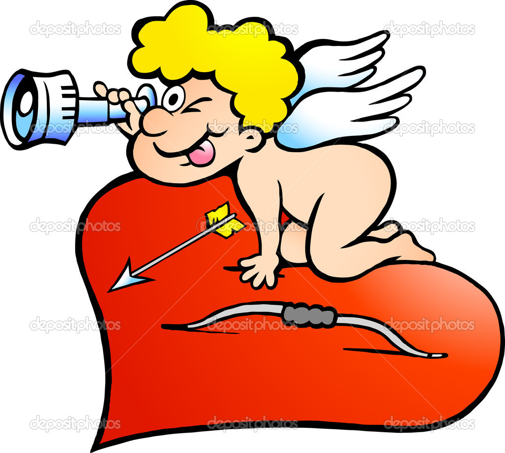 Hand-drawn Vector illustration of an Amor Angel Boy looking for