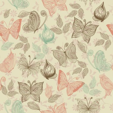 Seamless retro floral background with butterflies clip art vector