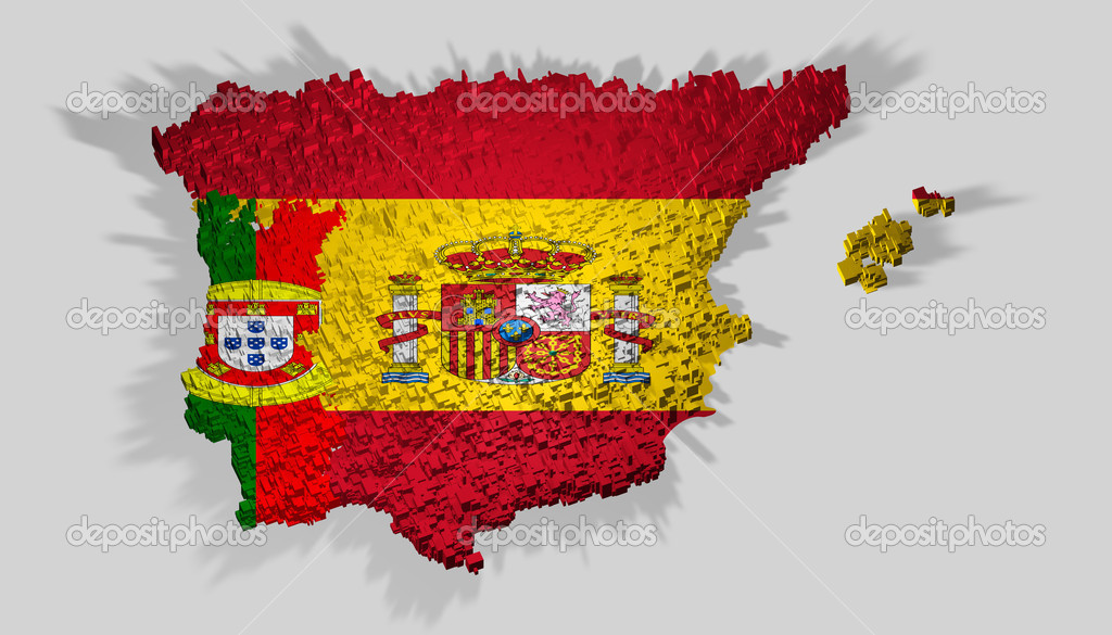 Spain And Portugal Map Mounted Over Blocks Stock Photo - Portugal map flag