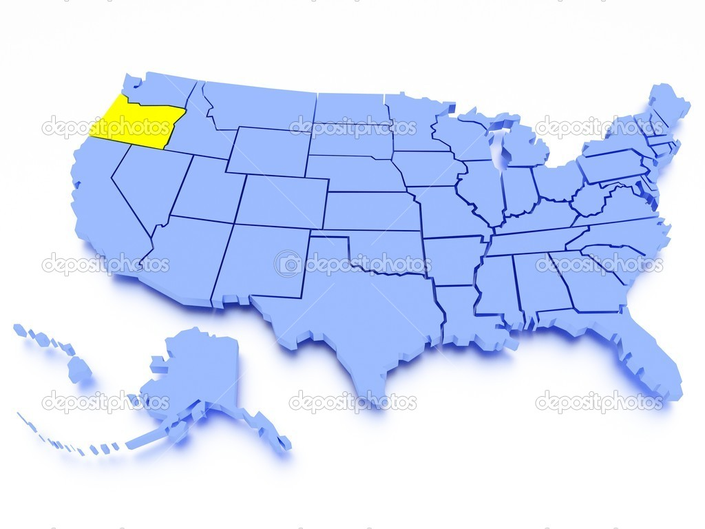 D Map Of United States State Oregon Stock Photo Kovacs - Us map oregon