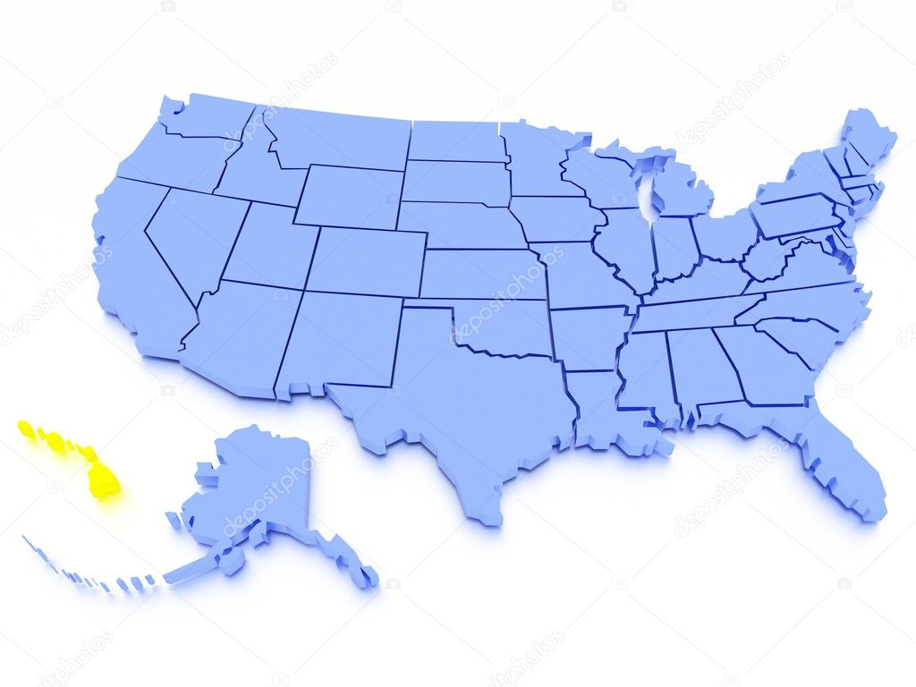 3D map of United States - State California — Stock Photo ...