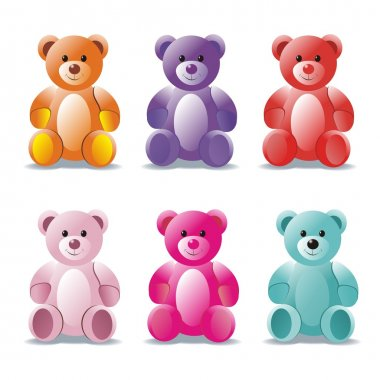 Small bears isolated on a white background