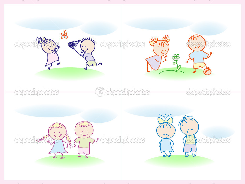 Children playing on the lawn