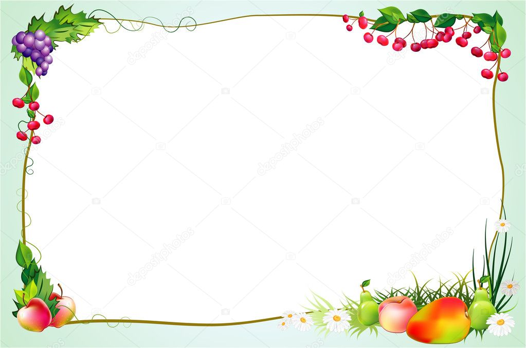 Decorative diet border with fruits and flowers