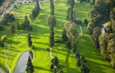 Golf Course at Sunset - Aerial