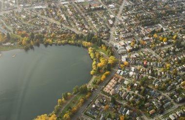 Urban Lake and Neighborhood - Aerial