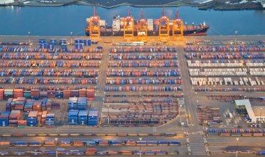 Freight Trucks Leaving Large Port