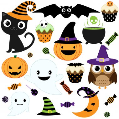 Set of cute vector Halloween elements, objects and icons for your design stock vector