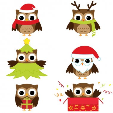 Christmas and New Year's owls in funny costumes - vector set stock vector