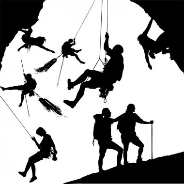 Vector climber silhouettes. Visit my portfolio for more... stock vector