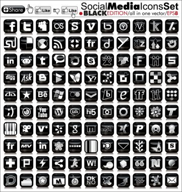 Social media icons - black edition - final vector