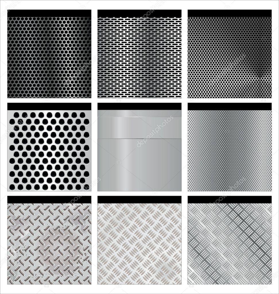 Metal texture 9 set. Illustration vector.