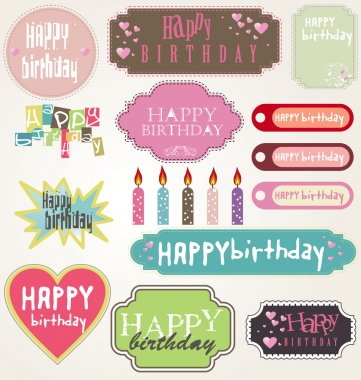 Happy Birthday Card Set, Vector Illustration
