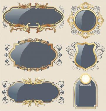 Llustration set gray gold-framed labels - vector