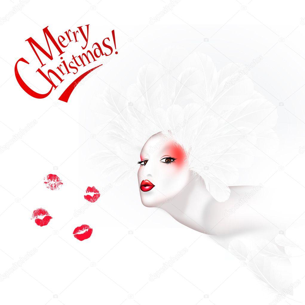 Engel-Kuss / rot und Weisse Weihnachten Karten — Stockfoto ...