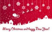 červené vánoční a novoroční banner s santa claus