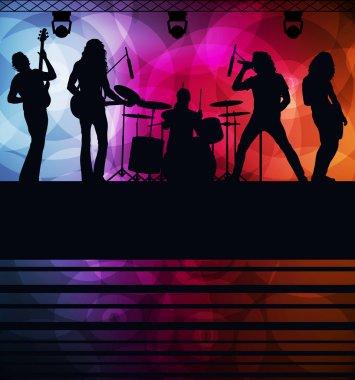 Rock concert landscape background illustration for poster clip art vector