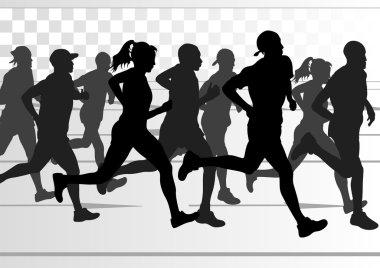Marathon runners in skyscraper city landscape background illustration