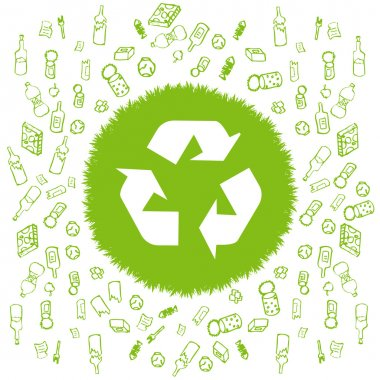 Recycle garbage round vector background