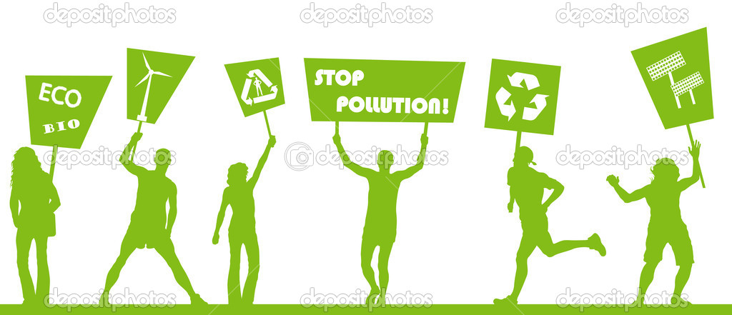 Green protest, picket against pollution. Ecology world concept vecto