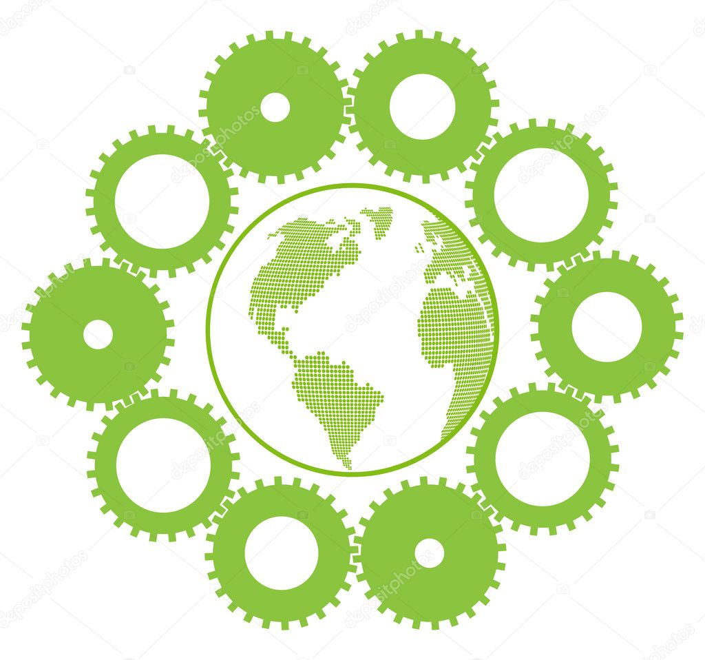 Green eco planet with concept of innovation gears around it vector backgrou