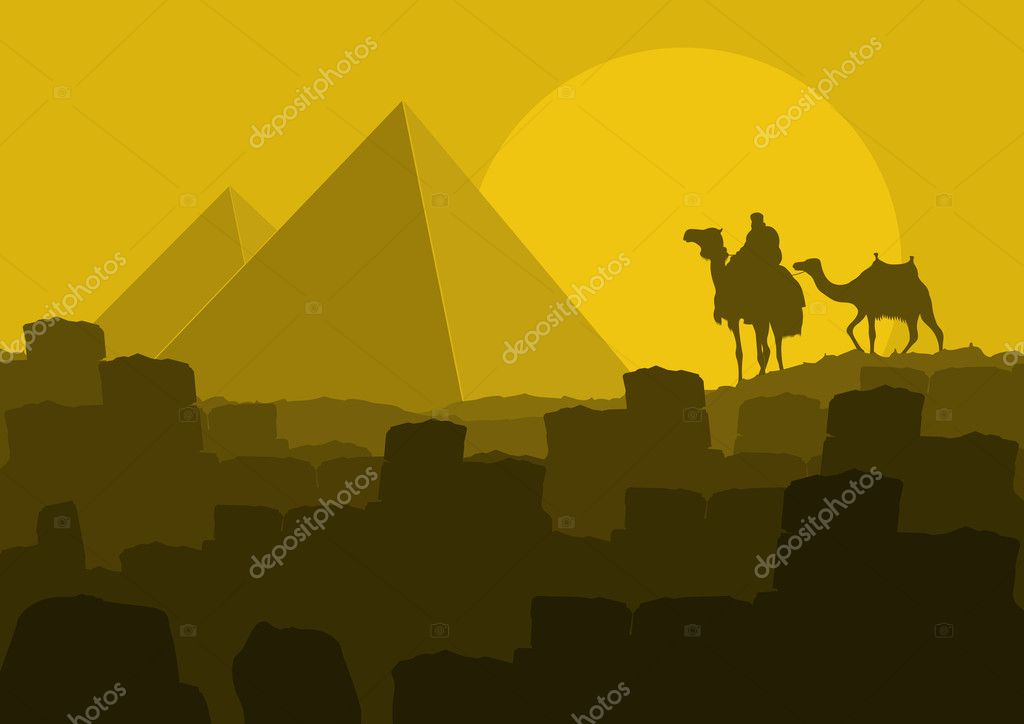 Camel caravan in wild Africa pyramids landscape background illustration