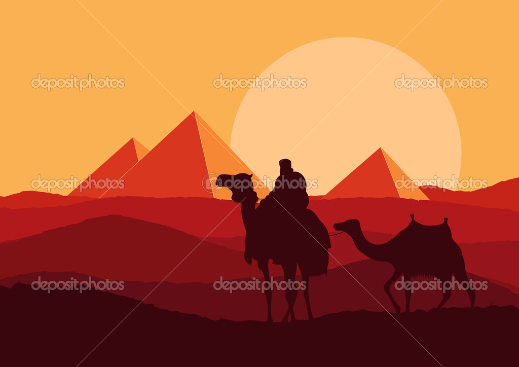 Camel caravan in wild Africa pyramids landscape background illustration