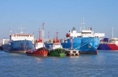 Cargo ships and guard boats docked in port