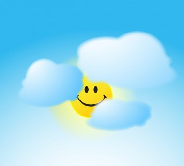 Smile face sun with a clouds stock vector