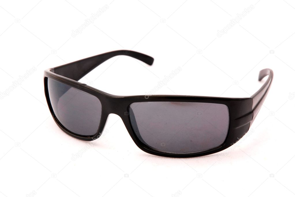 7216c17a37e A pair of fashionable black sunglasses. Image isolated on white studio  background.